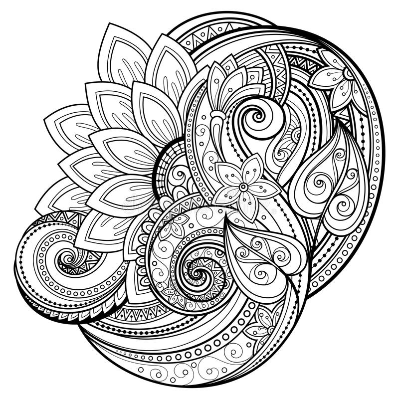 Vector Zwart-wit Bloemenachtergrond vector illustratie