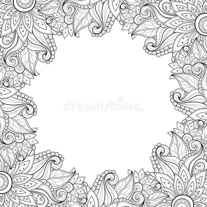 Vector Zwart-wit Bloemenachtergrond stock illustratie