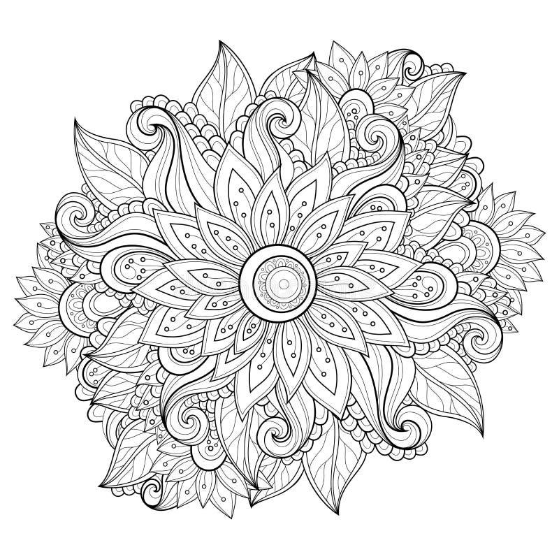 Vector Zwart-wit Bloemenachtergrond royalty-vrije illustratie