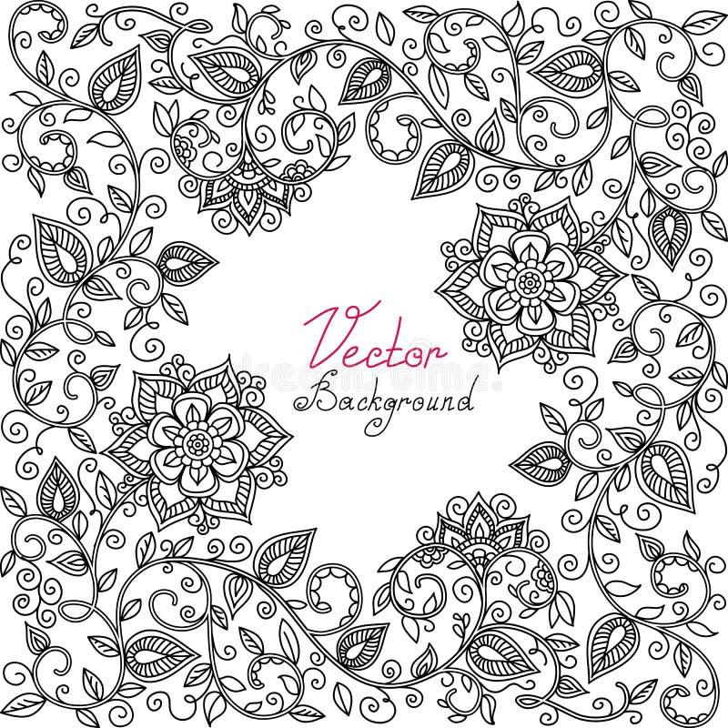 Vector zwart-wit bloemenpatroon vector illustratie