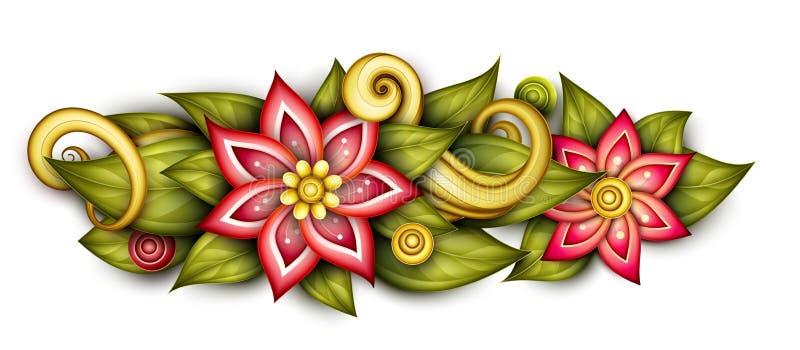 Vector Zwart-wit Bloemensamenstelling in Ovale Vorm stock illustratie