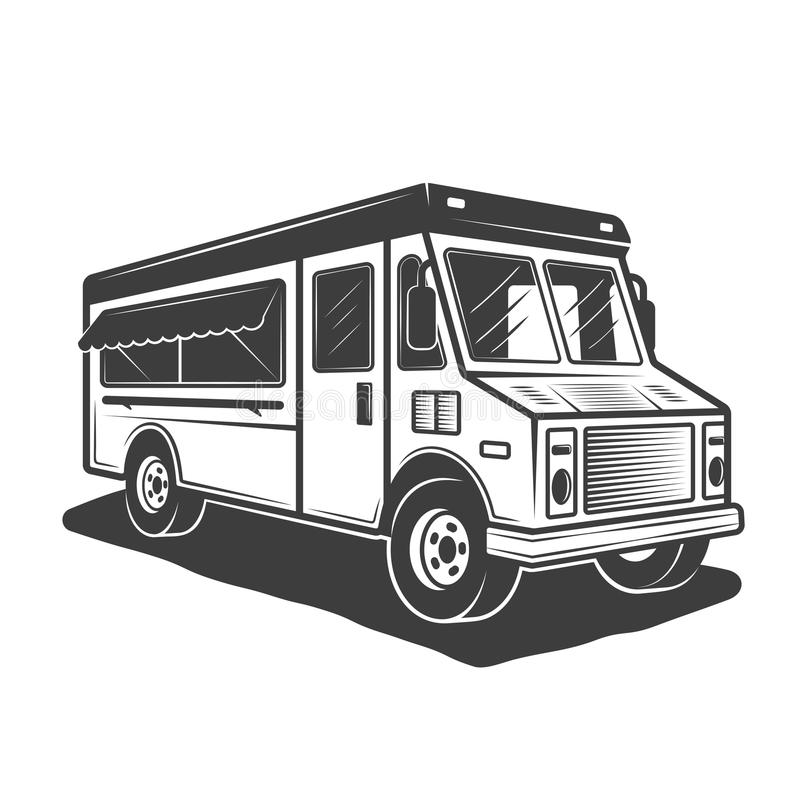 Vector zwart-wit de stijlillustratie van de voedselvrachtwagen vector illustratie
