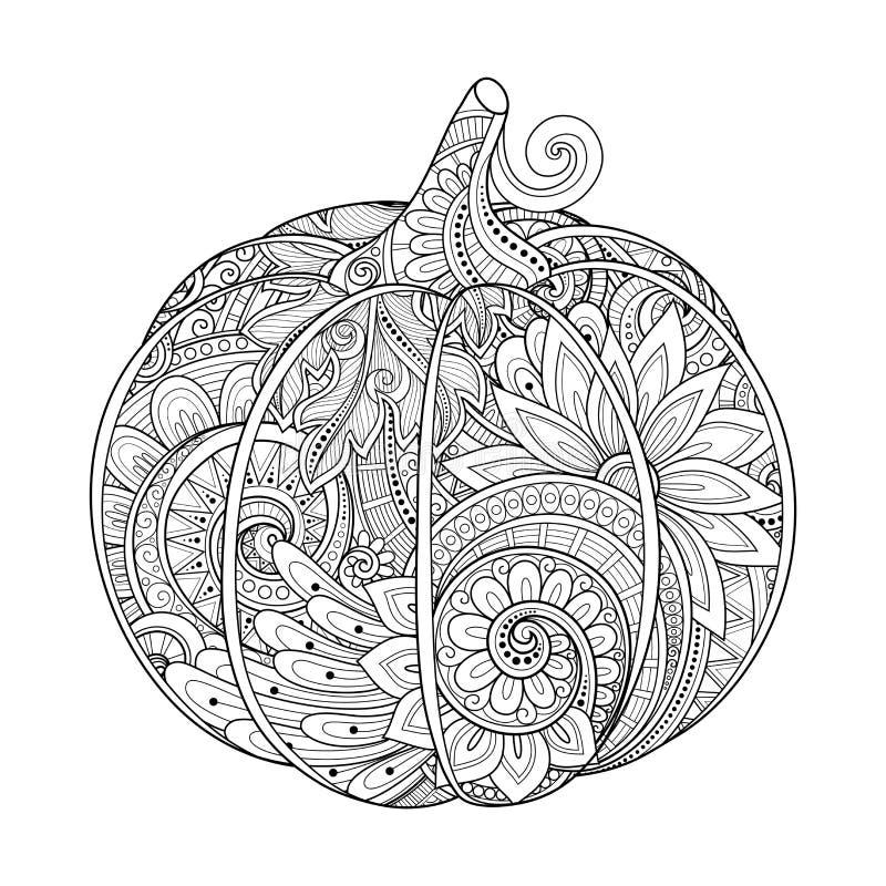 Vector Zwart-wit Decoratieve Pompoen met Mooi Patroon stock illustratie