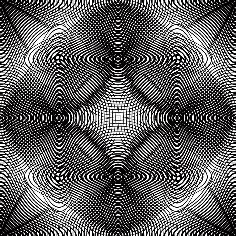 Vector zwart-wit gestreept illusive eindeloos patroon, art. stock illustratie