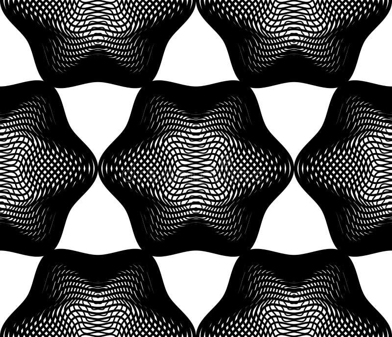 Vector zwart-wit gestreept illusive eindeloos patroon, kunstcontinuou stock illustratie