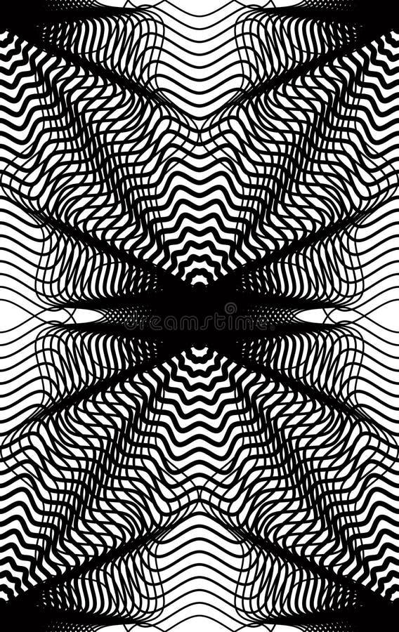 Vector zwart-wit gestreept illusive eindeloos patroon, kunstcontinuou vector illustratie