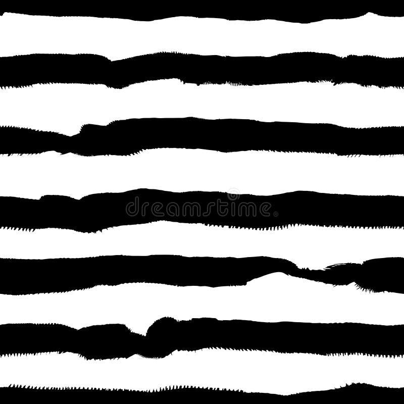 Vector zwart-wit hand getrokken naadloos patroon stock illustratie
