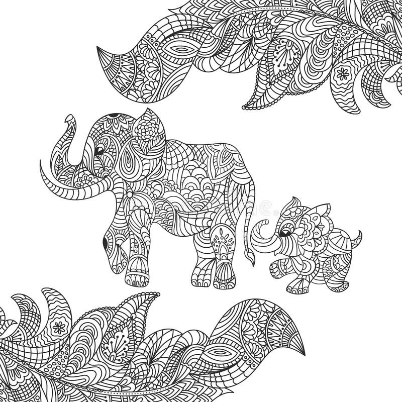 Vector zwart-wit hand getrokken zentagle illustratie van een olifant stock illustratie