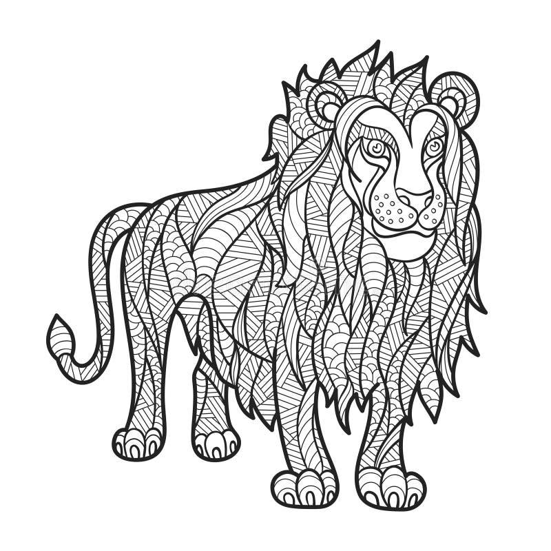 Vector zwart-wit hand getrokken zentagle illustratie van leeuw stock illustratie