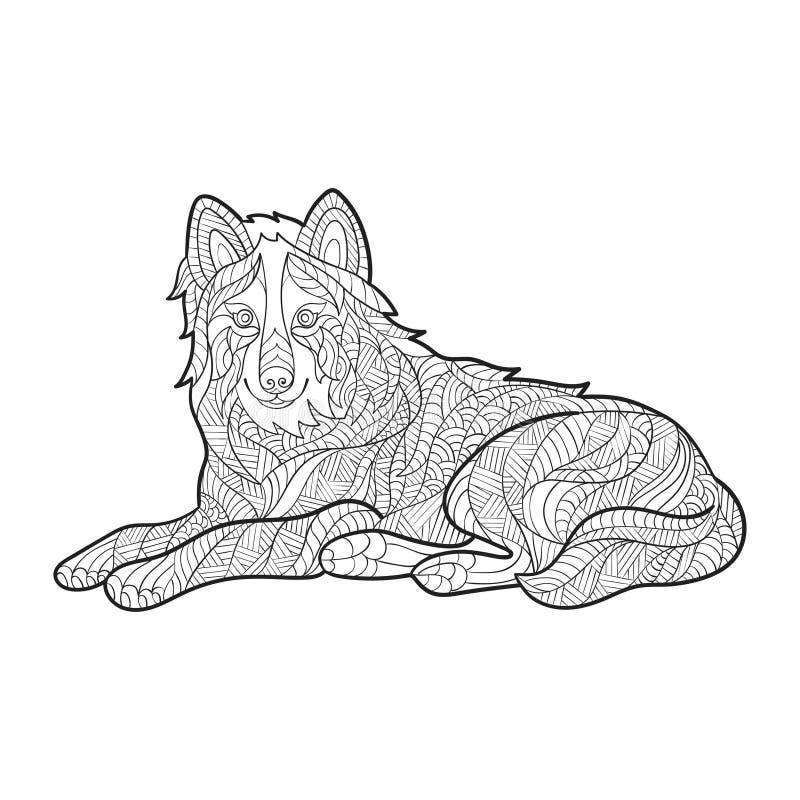 Vector zwart-wit hand getrokken zentagle illustratie van wolf stock illustratie