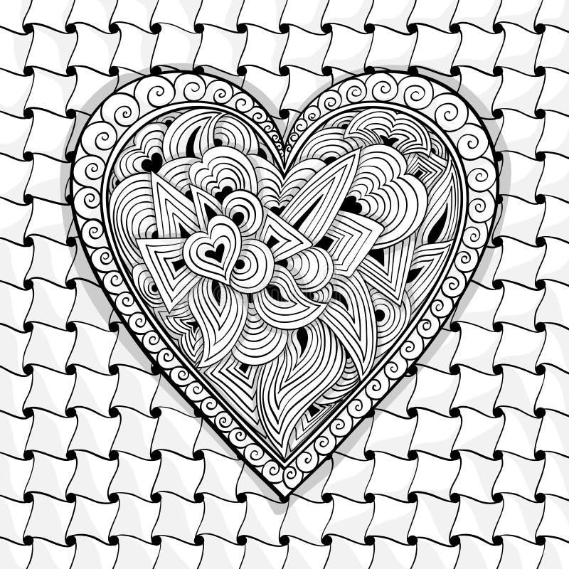 Vector zwart-wit hartpatroon stock illustratie