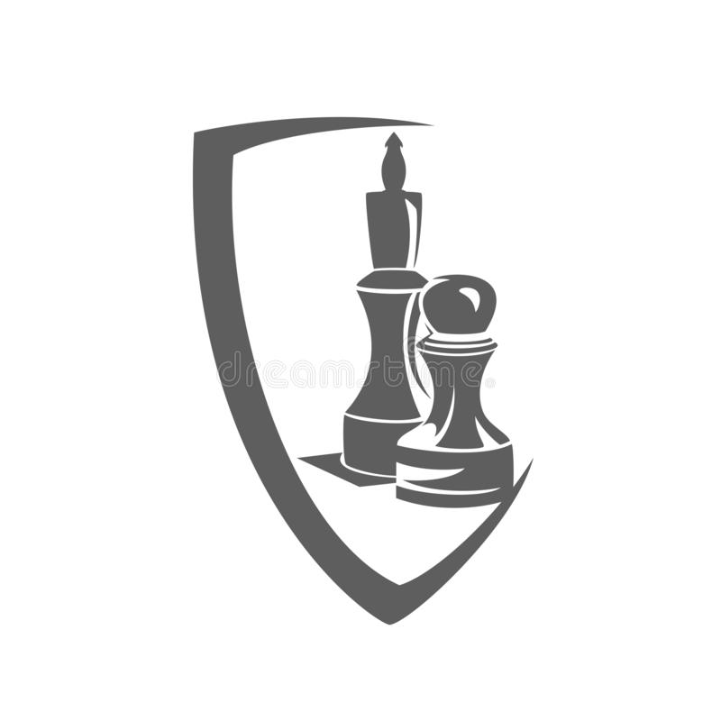 Vector zwart-wit het schildembleem van het schaakspel royalty-vrije illustratie