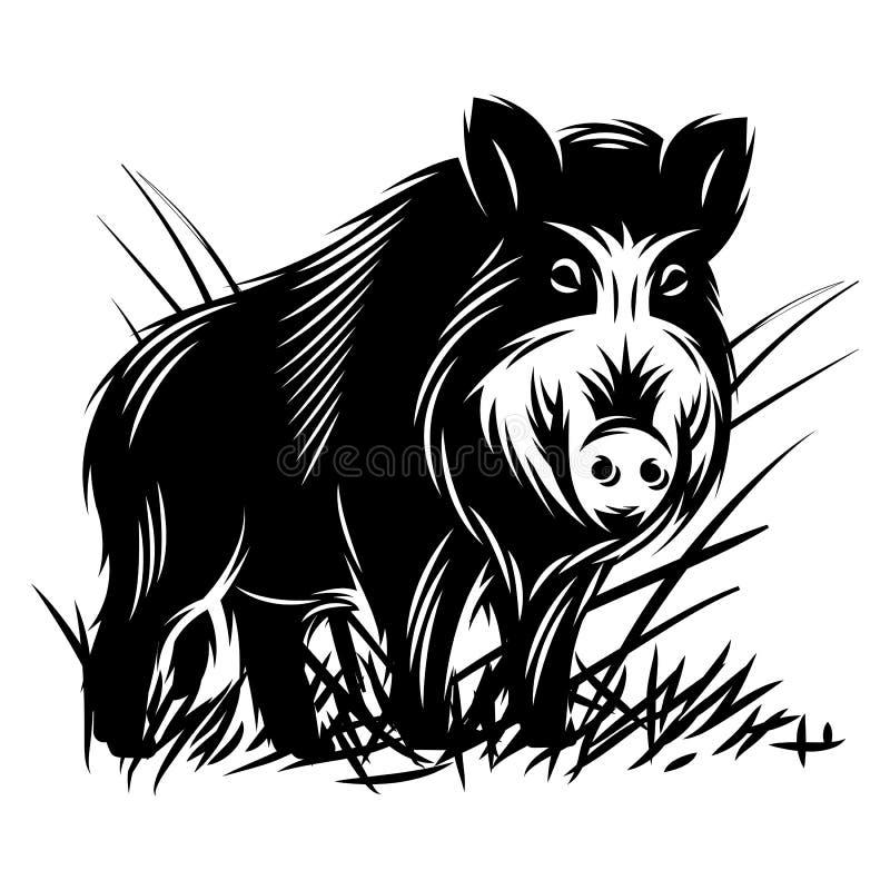 Vector zwart-wit illustratie met een everzwijn in struikgewas van gras royalty-vrije illustratie