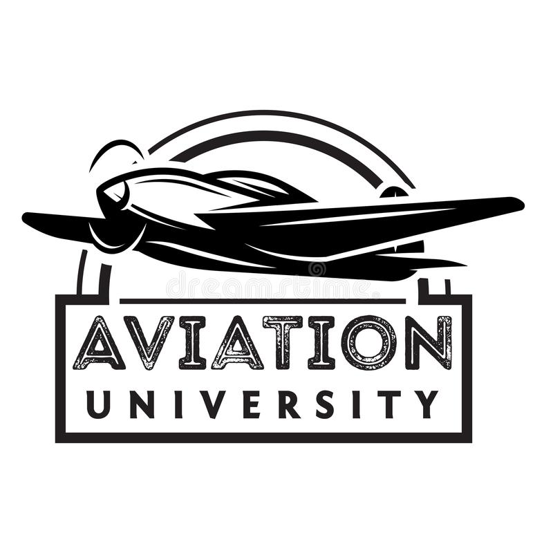 Vector zwart-wit illustratie met vliegtuig vector illustratie