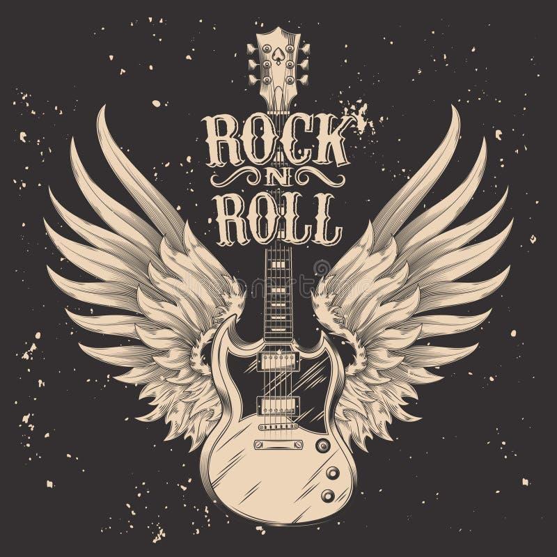 Vector zwart-wit illustratie van een elektrische gitaar met vleugels royalty-vrije illustratie