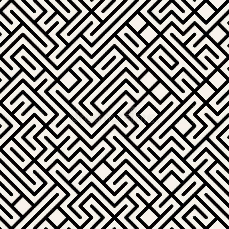Vector Zwart-wit Maze Geometric Seamless Pattern stock illustratie