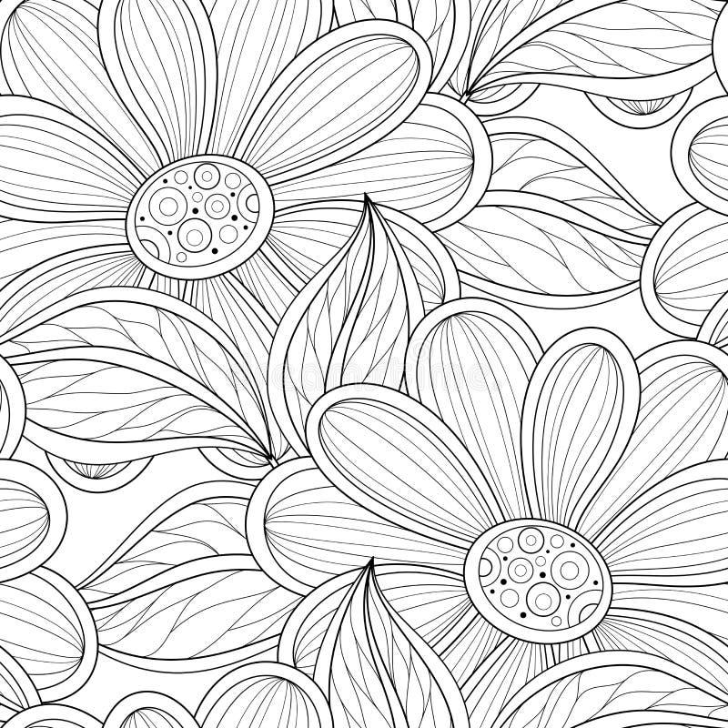 Vector Zwart-wit naadloos Bloemenpatroon royalty-vrije illustratie