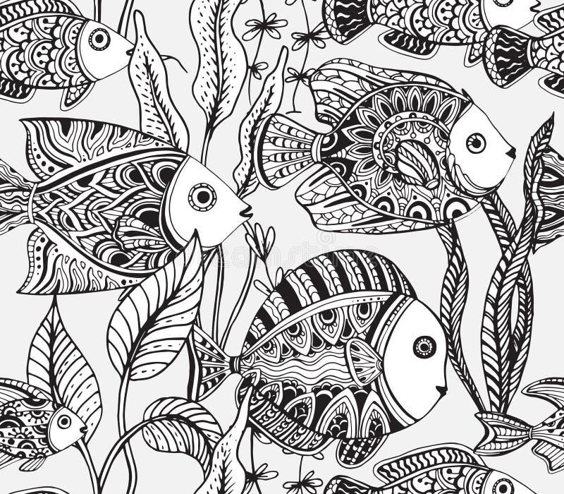 Vector zwart-wit naadloos overzees patroon met tropische vissen vector illustratie