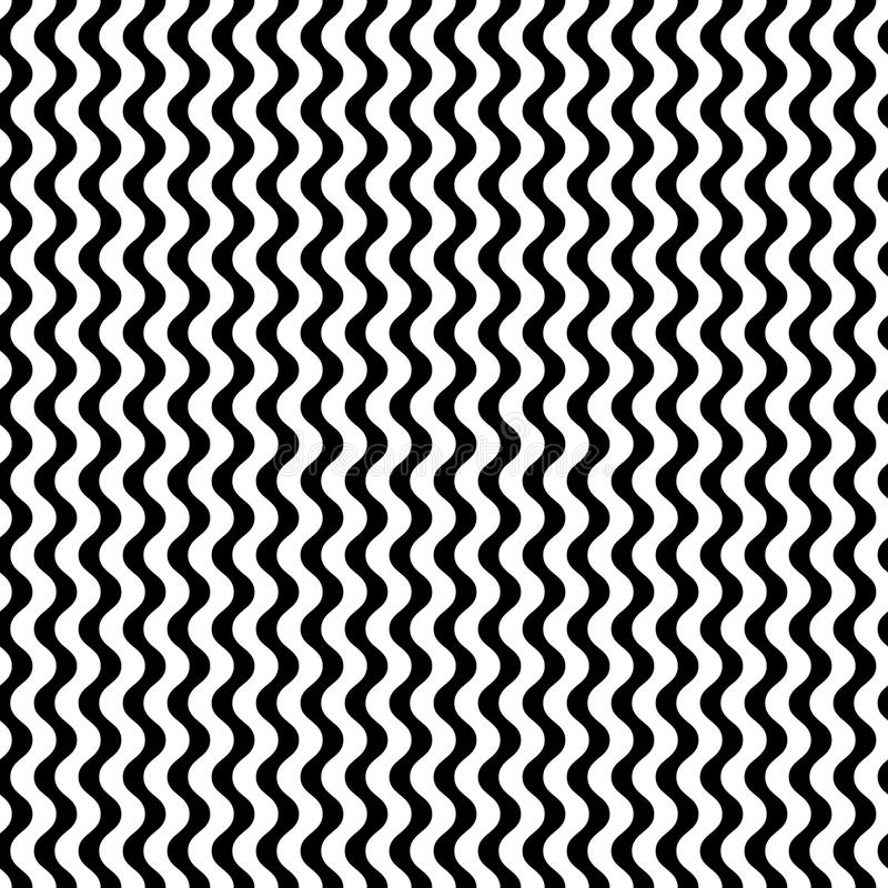 Vector zwart-wit naadloos patroon, eenvoudige golvende lijnen vector illustratie