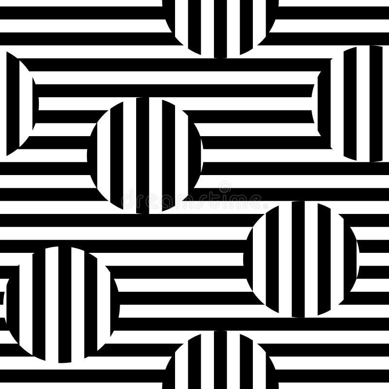 Vector zwart-wit naadloos patroon, gestreepte illusie stock illustratie