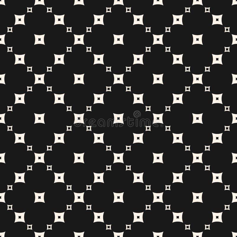 Vector zwart-wit naadloos patroon, kleine vierkanten in diagonaal net royalty-vrije illustratie