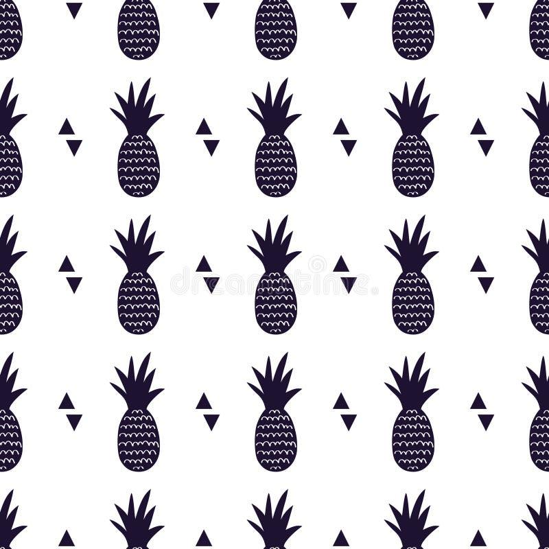 Vector zwart-wit naadloos patroon met ananassen en driehoeken royalty-vrije illustratie