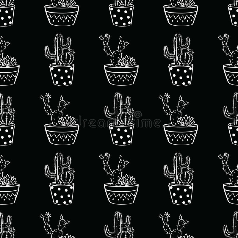 Vector zwart-wit naadloos patroon met cactussen en succulents in potten vector illustratie