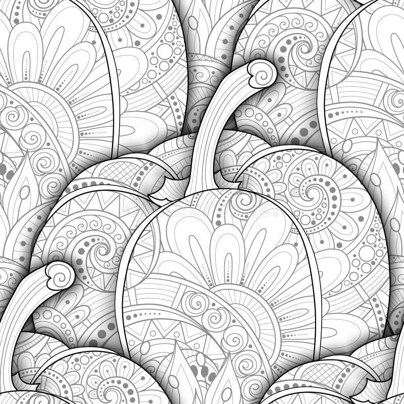 Vector Zwart-wit Naadloos Patroon met Decoratieve Groene paprika vector illustratie