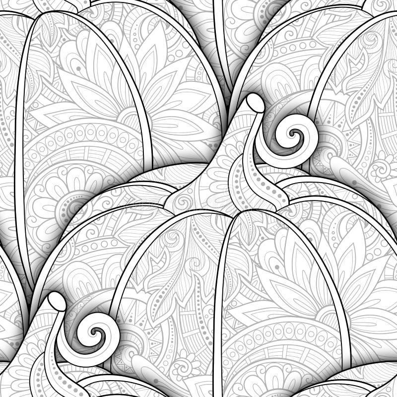 Vector Zwart-wit Naadloos Patroon met Decoratieve Pompoen royalty-vrije illustratie
