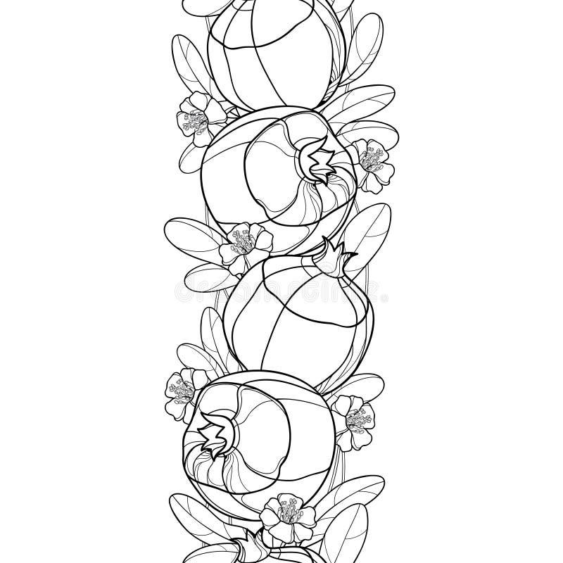 Vector zwart-wit naadloos patroon met het fruit van de overzichtsgranaatappel, overladen blad en bloem in zwarte op de witte acht stock illustratie