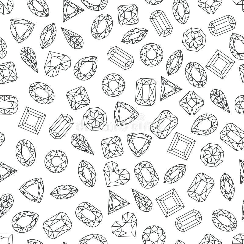 Vector zwart wit naadloos patroon met lijngemmen en juwelen Lineaire diamanten met verschillende besnoeiing, zwart-wit achtergron vector illustratie