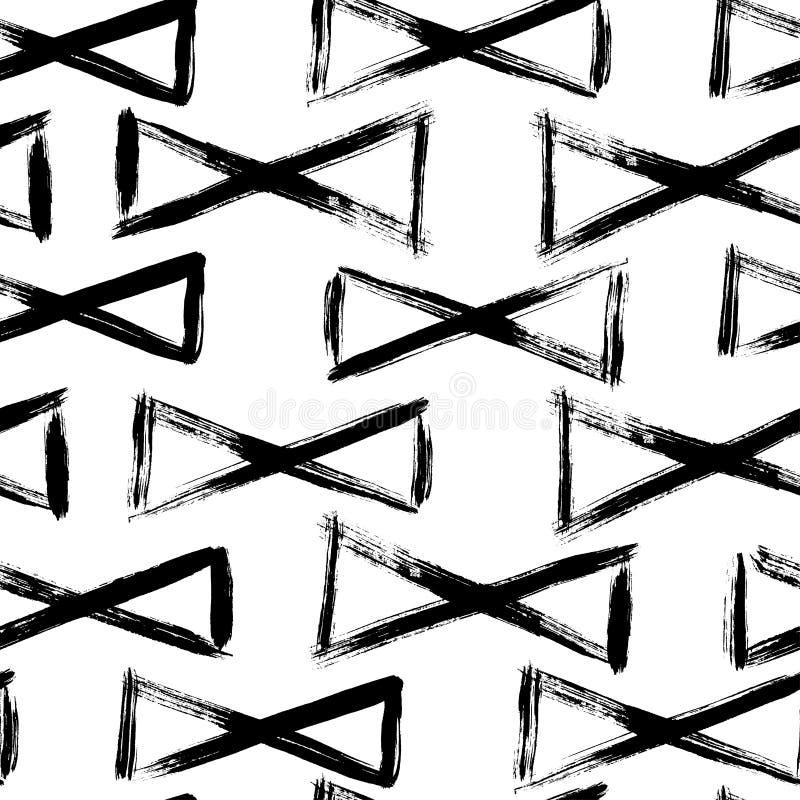 Vector zwart-wit naadloos patroon met pentagonen Gevonden waterverf royalty-vrije illustratie
