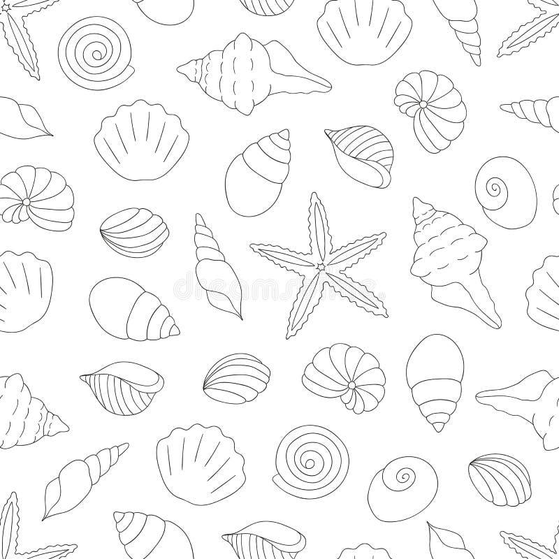 Vector zwart-wit naadloos patroon van overzeese shells royalty-vrije illustratie