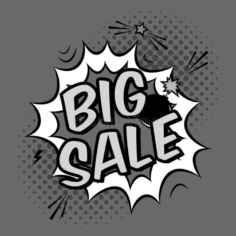 Vector zwart-wit pop-artillustratie met grote verkoopkorting royalty-vrije illustratie