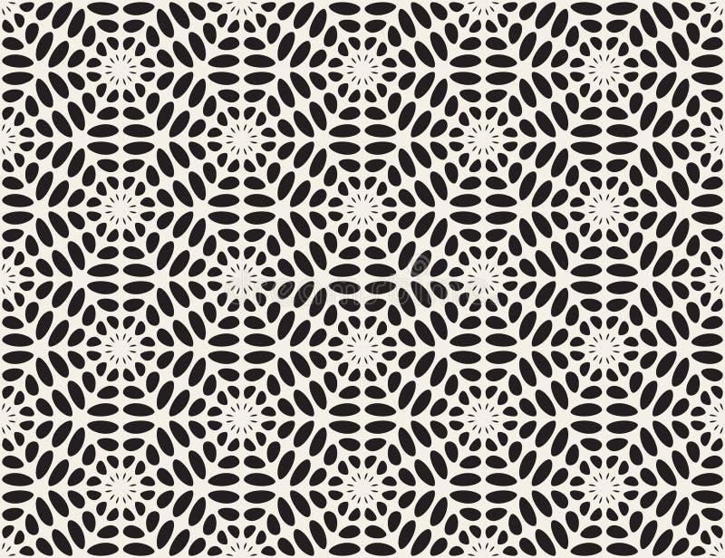 Vector Zwart-wit Rond gemaakt de Sterpatroon van het Ellipskant stock illustratie