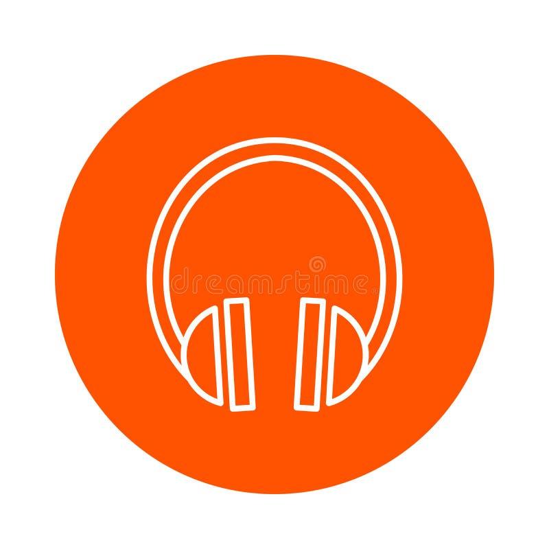 Vector zwart-wit rond pictogram met beeld van correcte hoofdtelefoons, vlakke stijl royalty-vrije illustratie