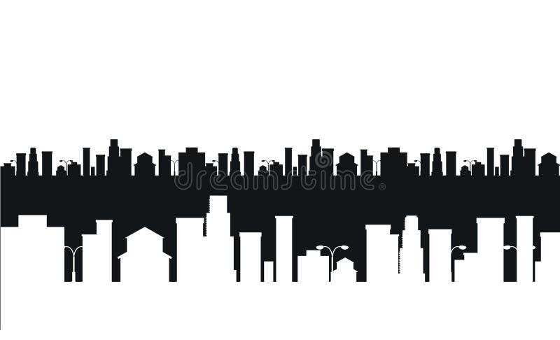 Vector zwart-wit stedensilhouet vector illustratie