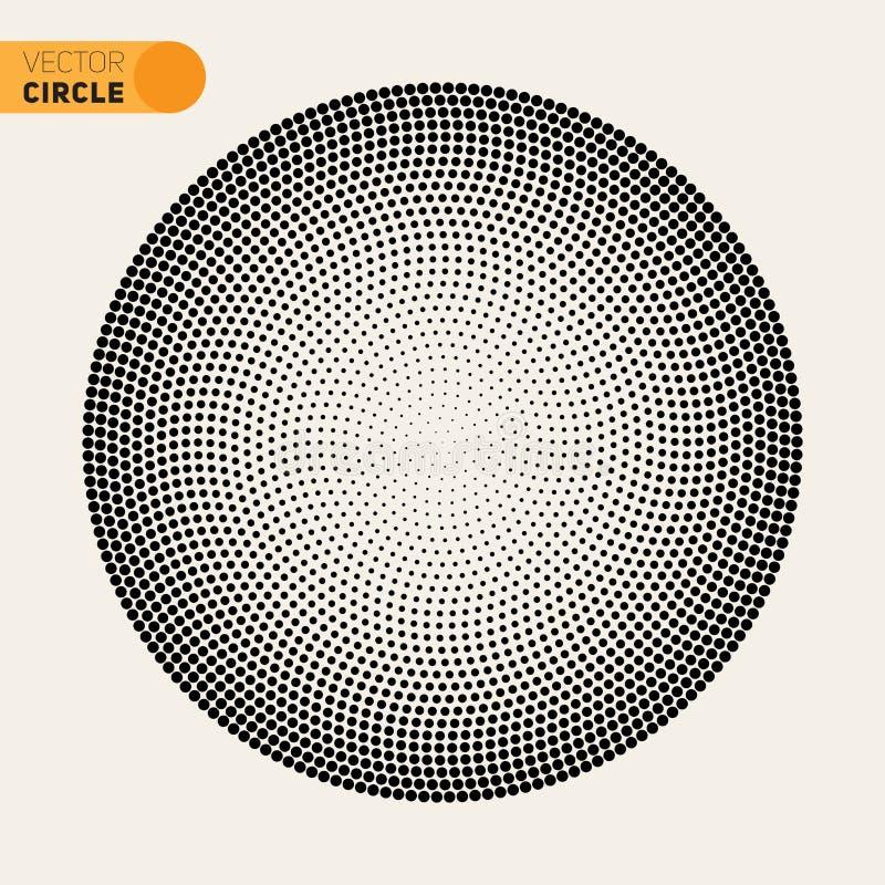 Vector Zwart-wit van het de Cirkel Halftone Patroon van Fibonacci Spiraalvormig het Ontwerpelement vector illustratie