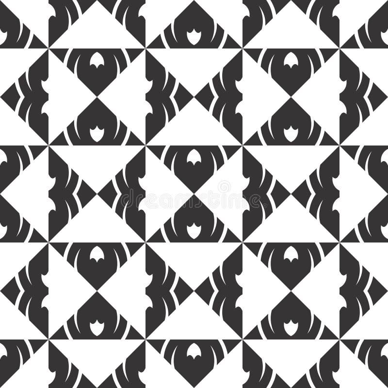 Vector Zwart-witte abstracte geometrische vormenruit en driehoeks naadloos patroon of ontwerp stock illustratie