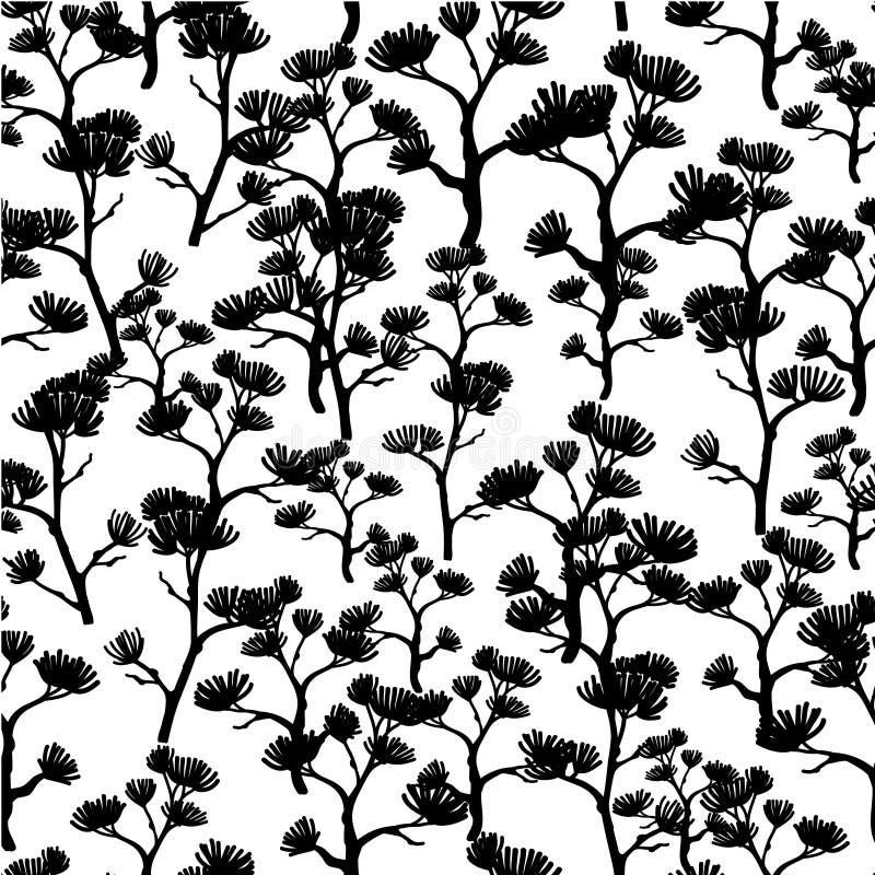 Vector Zwart-witte Aziatische Naadloze het Patroonachtergrond van de Bomenkimono Groot voor elegante grijze textuurstof, kaarten stock illustratie