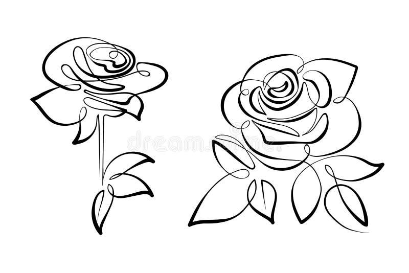 Vector zwart-witte bloemenrozen stock afbeelding