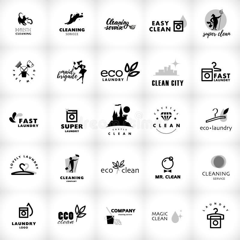 Vector zwart-witte embleeminzameling voor het schoonmaken van bedrijf stock illustratie
