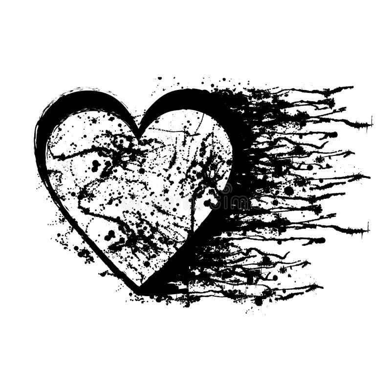 Vector zwart-witte grafische illustratie van teken van hart met inktvlek stock illustratie