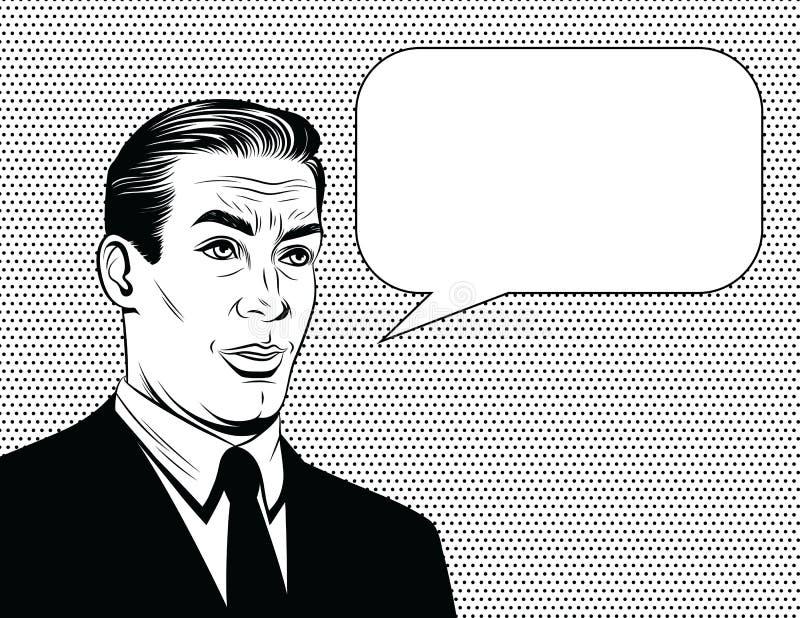 Vector zwart-witte grappige stijlillustratie van een manager met emotioneel gezicht over puntachtergrond stock illustratie