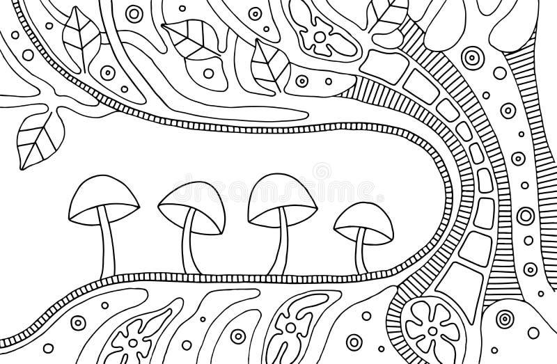 Vector zwart-witte hand getrokken illustratie van psychedelische abstracte boom, bloemen, bladeren, punten, paddestoelen, achterg vector illustratie