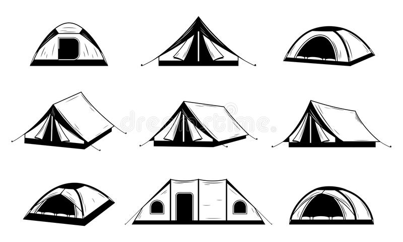 Vector zwart-witte het kamperen tentpictogrammen stock illustratie