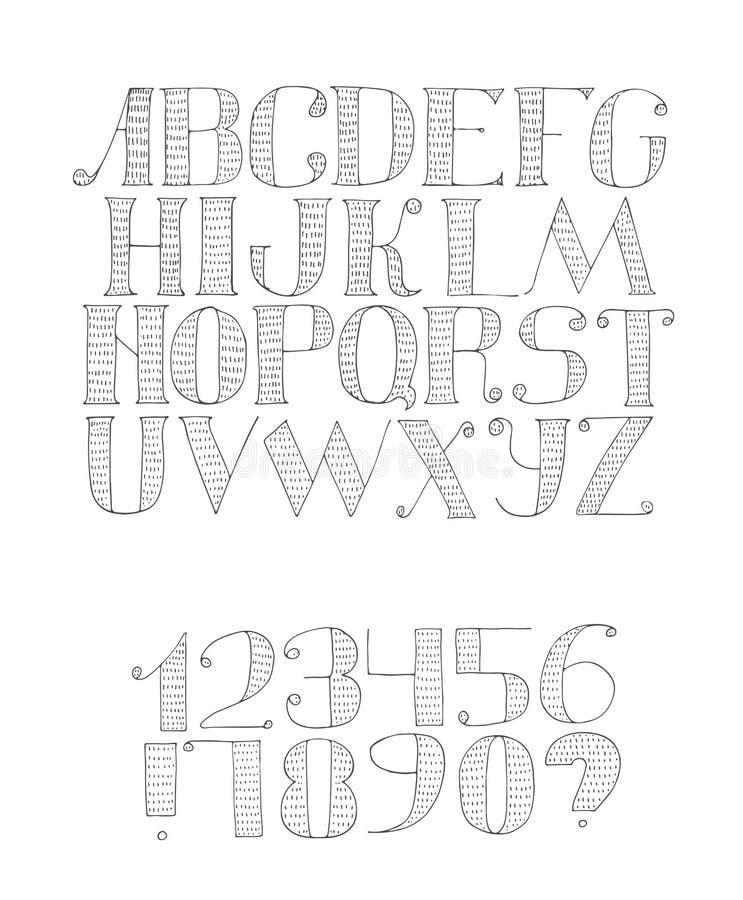 Vector zwart-witte illustratie met lichte Engelse alfabetopeenvolging van a aan z en cijfers van 0 tot 9 en leestekens royalty-vrije illustratie