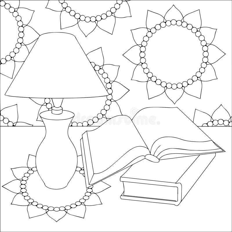 Vector zwart-witte illustratie van een lijst met een lamp stock illustratie