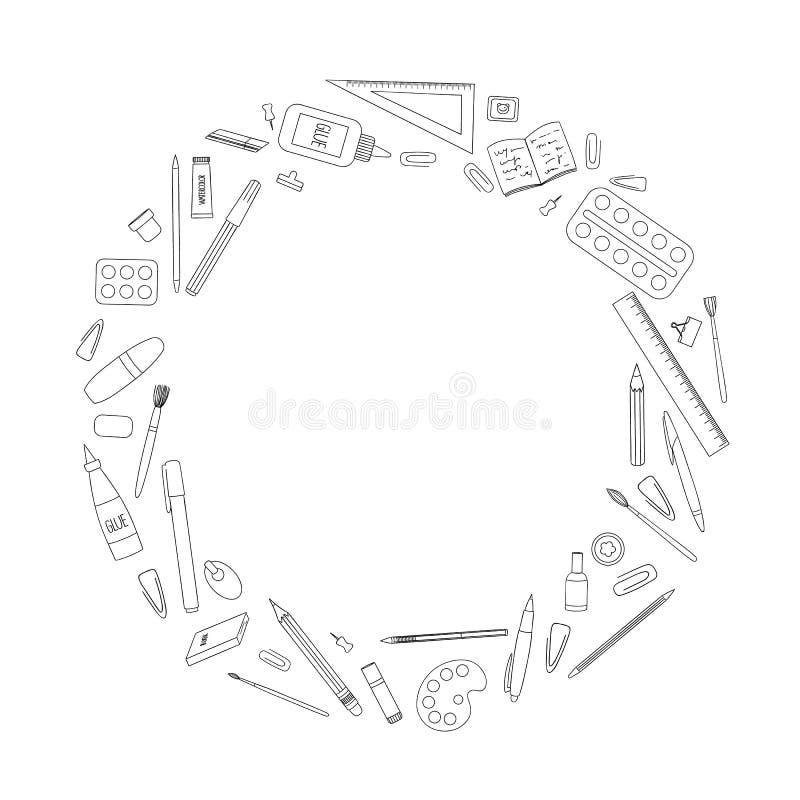 Vector zwart-witte kantoorbehoeften, bureau of schoollevering die in cirkel wordt ontworpen stock illustratie