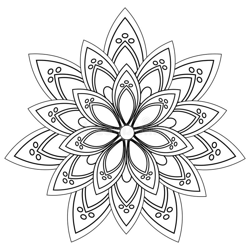Vector zwart-witte mandala royalty-vrije stock fotografie